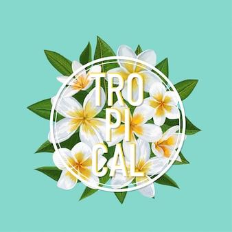 Tropikalny projekt kwiatowy lato. kwiaty plumeria