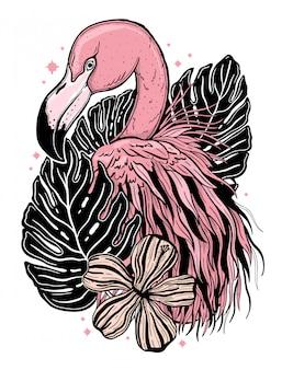 Tropikalny ptak flamingo tatuaż. letni rysunek natury.