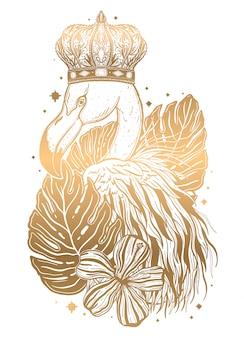 Tropikalny ptak flamingo złoty tatuaż