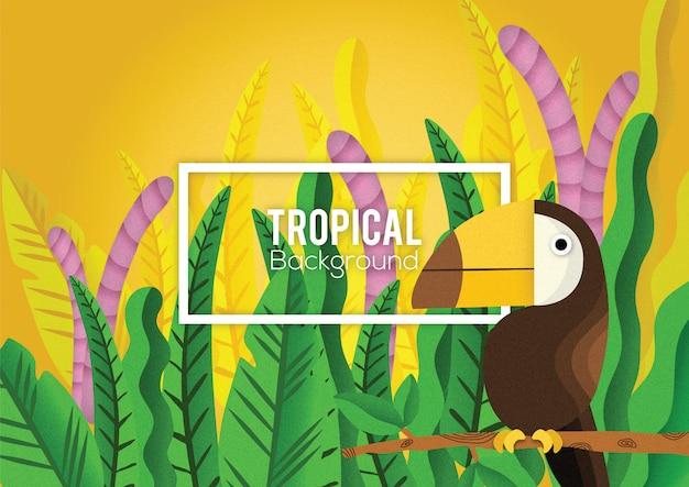 Tropikalny ptak liść tło