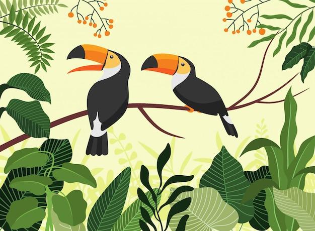 Tropikalny ptak tukan kreskówka zwierzę