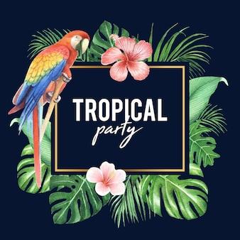 Tropikalny ramowy projekt z ulistnieniem i ptakiem, wektorowa ilustracja.