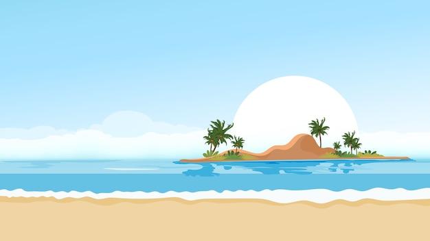 Tropikalny Seascape Błękitny Ocean I Drzewko Palmowe Na Wyspie Premium Wektorów