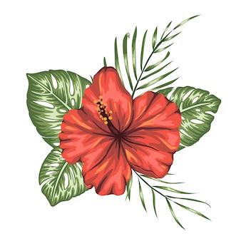 Tropikalny skład czerwony hibiskus, monstera i liści palmowych na białym tle.