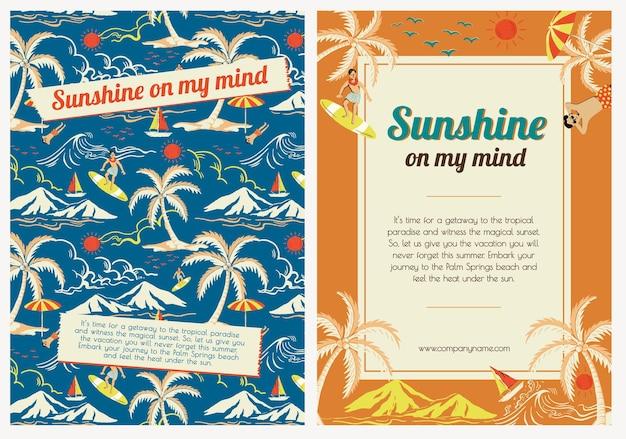 Tropikalny szablon podróży słońcem dla agencji marketingowych plakatów reklamowych ser