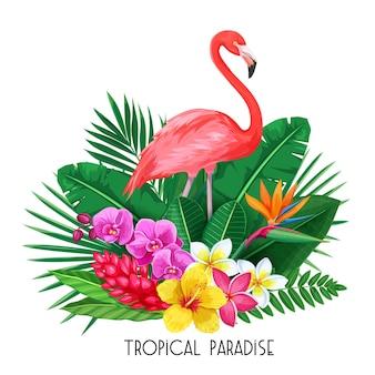 Tropikalny sztandar. letni projekt na reklamę z flamingiem, tropikalnymi liśćmi i kwiatami.