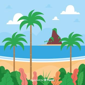Tropikalny Tło Wektor Plaża Krajobraz Darmowych Wektorów