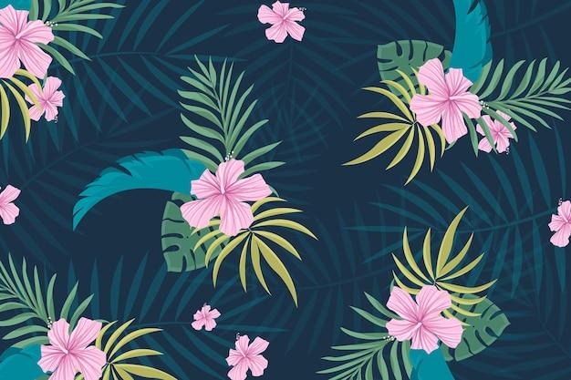 Tropikalny tło z kwiatami i ulistnieniem