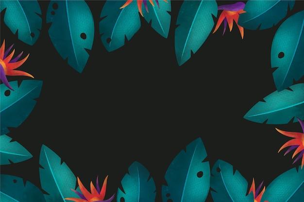 Tropikalny tło z zielonymi liśćmi