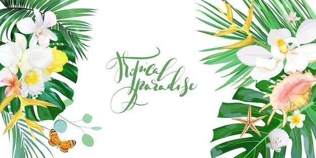 Tropikalny transparent z kwiatami i muszlami. szablon wektor.