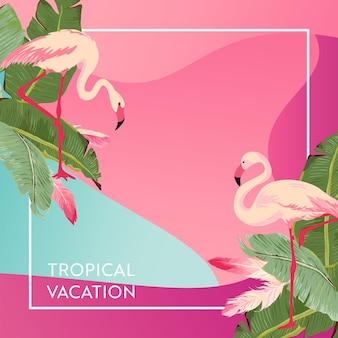 Tropikalny układ wakacji z ptakami flamingo i liśćmi palmowymi dla sieci web, strony docelowej, banera, plakatu, szablonu strony internetowej. witam lato tło dla aplikacji mobilnej, mediów społecznościowych. ilustracja wektorowa
