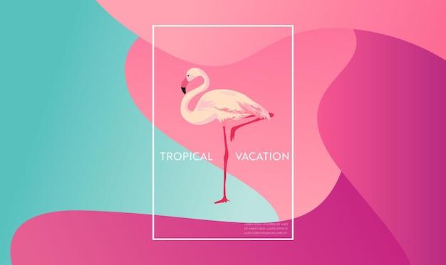Tropikalny układ wakacji z ptakiem flamingo dla sieci, strona docelowa, baner, plakat, szablon strony internetowej. witam lato tło dla aplikacji mobilnej, mediów społecznościowych. ilustracja wektorowa