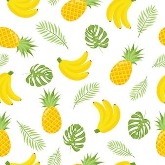 Tropikalny wzór. bezszwowe tło dekoracyjne z żółtymi bananami, ananasami, arbuzem i liśćmi palmowymi. jasny projekt lato na tle trendu linii grunge. ilustracja wektorowa