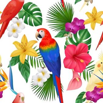 Tropikalny wzór. egzotyczne kwiaty i ptaki kolorowe piękne amazońskie papugi kwiatowy bez szwu, egzotyczne palmy dżungli i ptaki, lato tropikalne