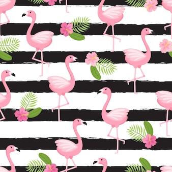 Tropikalny wzór flaminga bezszwowe tło dekoracyjne z flamingiem i kwiatami