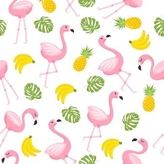 Tropikalny wzór flaminga. bezszwowe tło dekoracyjne z flamingo i owoców tropikalnych. jasny wzór lato na białym tle. ilustracja wektorowa