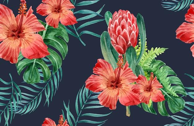 Tropikalny wzór kwiat akwarela, dzięki karty, ilustracja drukowania tkanin