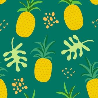 Tropikalny wzór kwiatów i liści, egzotyczna okładka letnia, ananasy bezszwowe tło retro w wektorze