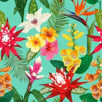 Tropikalny wzór kwiaty. tygrys lily kwiat i hibiskus. akwarela kwitnienie