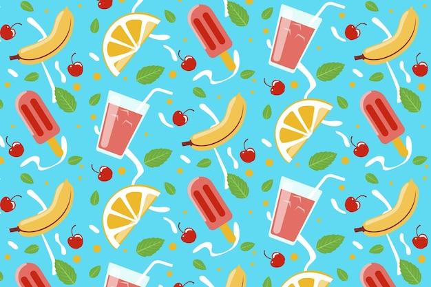 Tropikalny wzór lato z owocami i słodkimi smakołykami