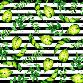 Tropikalny wzór liści w stylu przypominającym akwarele z paskami