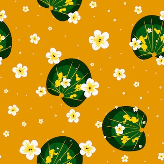 Tropikalny wzór liści i kwiatów