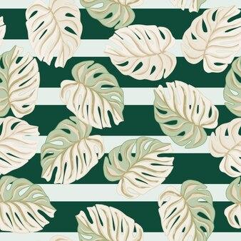 Tropikalny wzór liści z losowymi kształtami liści monstera.