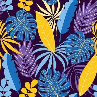 Tropikalny wzór w odcieniach fioletu