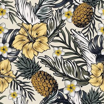 Tropikalny wzór z ananasami, kwiatami hibiskusa i frangipani oraz egzotycznymi liśćmi