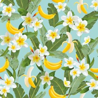 Tropikalny wzór z bananami i liśćmi palmowymi