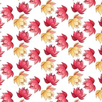 Tropikalny wzór z egzotycznymi kwiatami w stylu cartoon. jasny letni nadruk do projektowania i tła.