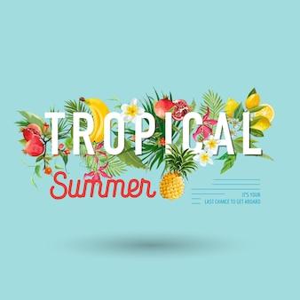 Tropikalny wzór z egzotycznymi owocami