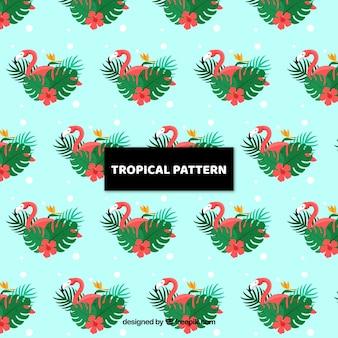 Tropikalny wzór z egzotycznymi ptakami