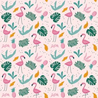 Tropikalny wzór z flamingami, egzotycznymi liśćmi.