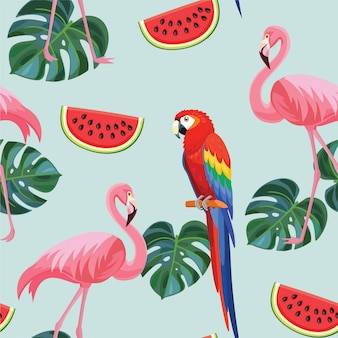 Tropikalny wzór z flamingami i papugami.