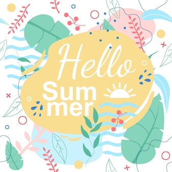 Tropikalny wzór z hello summer title