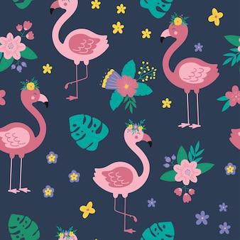 Tropikalny wzór z kwiatowym różowym flamingiem tło wektor kreskówka z flamingo