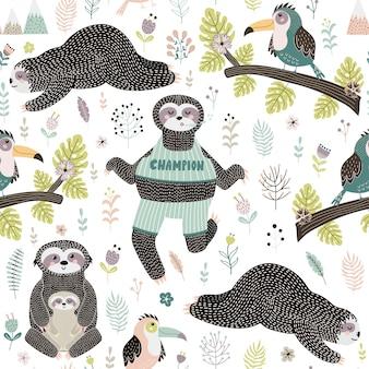 Tropikalny wzór z leniwcami i ptak siedzący na gałęzi