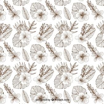 Tropikalny wzór z liści i kwiatów
