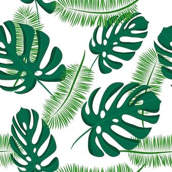 Tropikalny wzór z liści palmowych. jasny letni wzór na tle do nadruku na tkaninie, tapecie i papierze. ilustracja wektorowa
