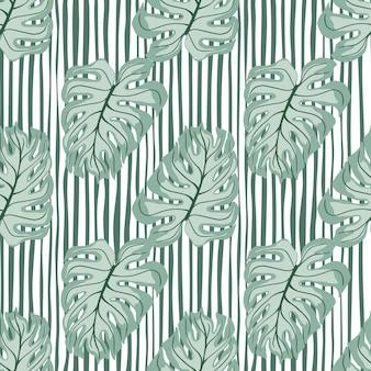 Tropikalny wzór z niebieskimi kształtami liści monstera. pasiaste zielone i białe tło. tło dekoracyjne do projektowania tkanin, nadruków na tekstyliach, zawijania, okładek. ilustracja wektorowa.