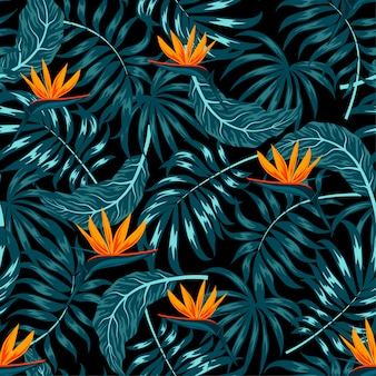 Tropikalny wzór z roślin i kwiatów na ciemnym tle