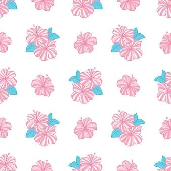 Tropikalny wzór z różowymi kwiatami i zielonymi liśćmi