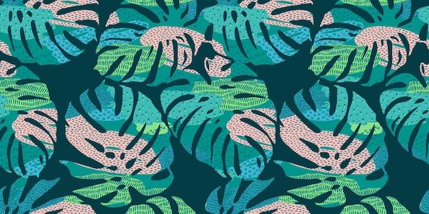 Tropikalny wzór z streszczenie liści