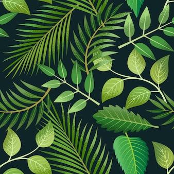 Tropikalny wzór z zielonych liści palmowych na ciemnym tle.