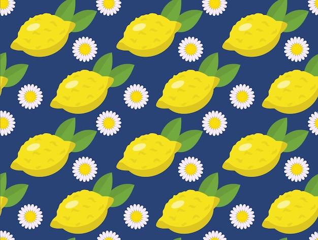 Tropikalny wzór z żółtymi cytrynami na niebiesko.