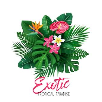 Tropikalny z liśćmi i kwiatem