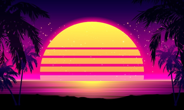 Tropikalny zachód słońca w stylu retro lat 80-tych z palmą sylwetka i gradientowym tle nieba. klasyczny projekt retro z lat 80. cyfrowy krajobraz cyber surface.