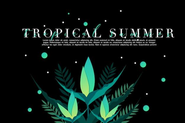 Tropikalny zielony kwiat i liście
