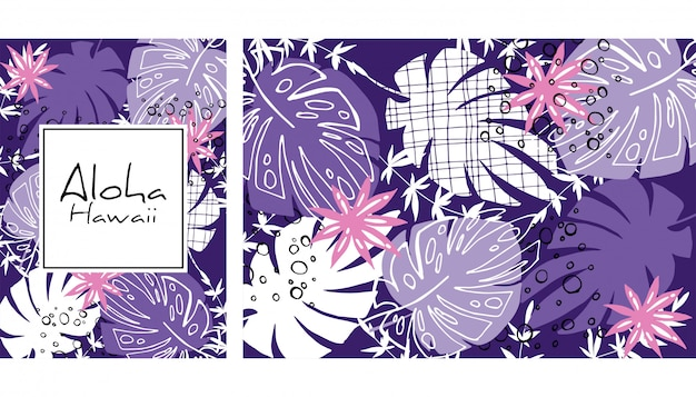 Tropikalnych liści wzór, ręcznie rysowane akwarela wektor ilustracja. drukuj rośliny tropikalne. letni projekt.